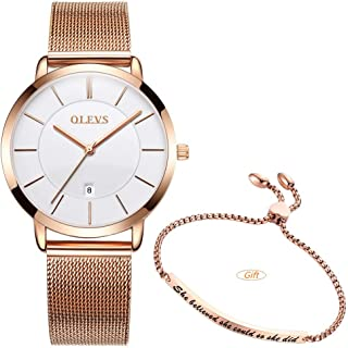 Women's Minimalist Thin Watches for Ladies Female and Bracelet Set Simple Casual Slim Dress Big Face Quartz Analog Wrist Watch Waterproof with Mesh Steel Band Love Shape