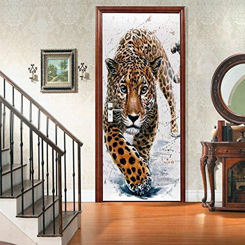 JJDSL Etiqueta de Puerta Vinilos para Puerta Pared Adhesivos Papel de Pared - Arte de tigre animal - 95x215 cm - para Cocina Baños Dormitorio Infantiles - 3D Autoadhesiva Impermeable Decorativ