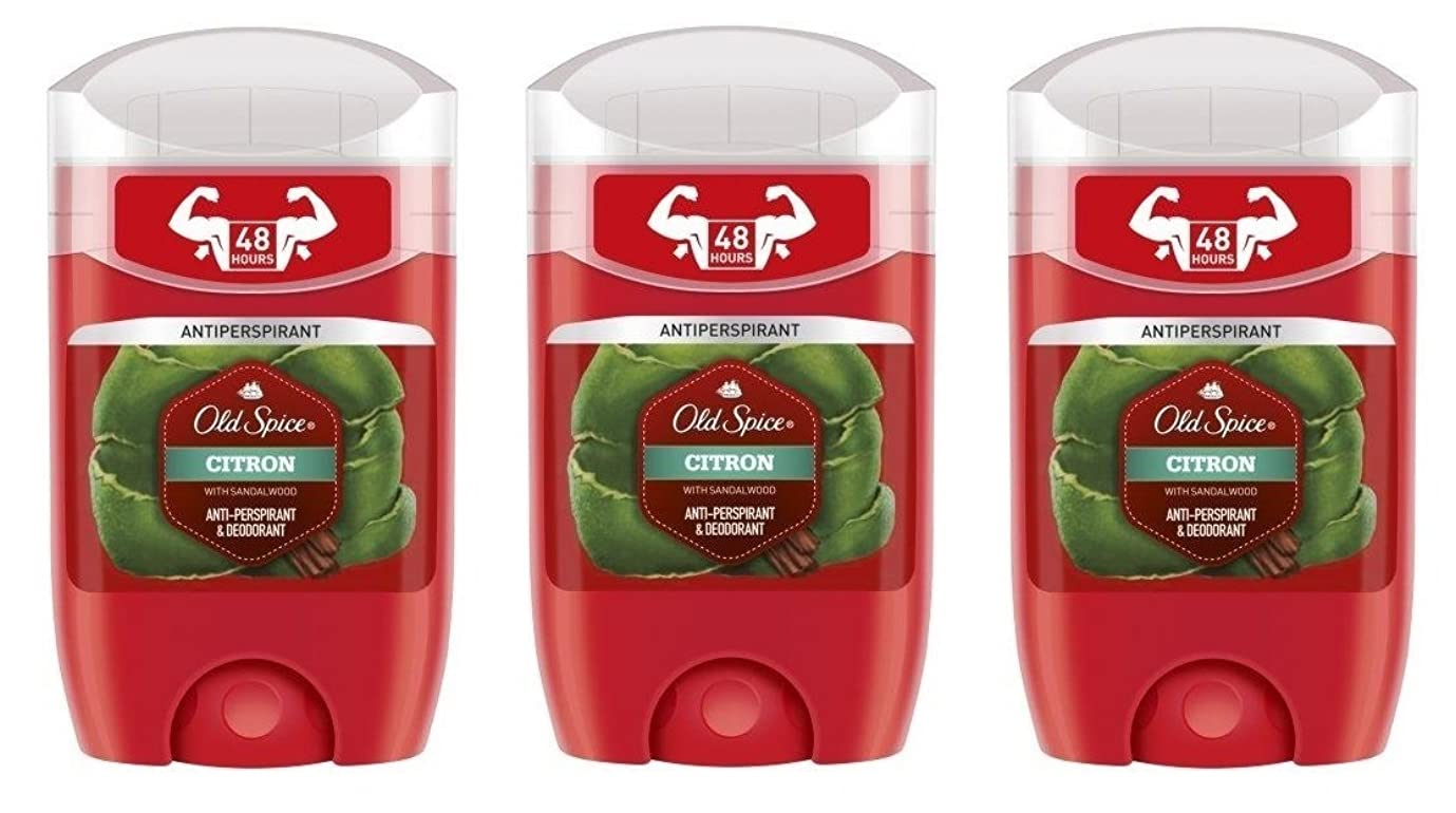 ワークショップ泣き叫ぶそして(Pack of 3) Old Spice Citron with Sandalwood Antiperspirant Deodorant Solid Stick for Men 3x50ml - (3パック) オールドスパイスシトロンサンダルウッド制汗剤デオドラントソリッドスティック男性用3x50ml