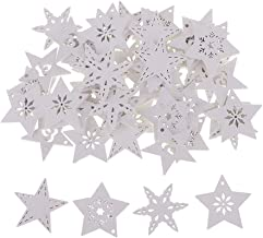 Baoblaze 50 Pieces White Wood Cutouts Star Shapes Wood Snowflake Wooden Decorations Embellishment for DIY Craft Scrapbooki...