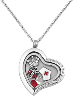 Q&Locket RN Nurse Hat Floating Charms Womens Glass Living Memory Locket Pendant Necklace