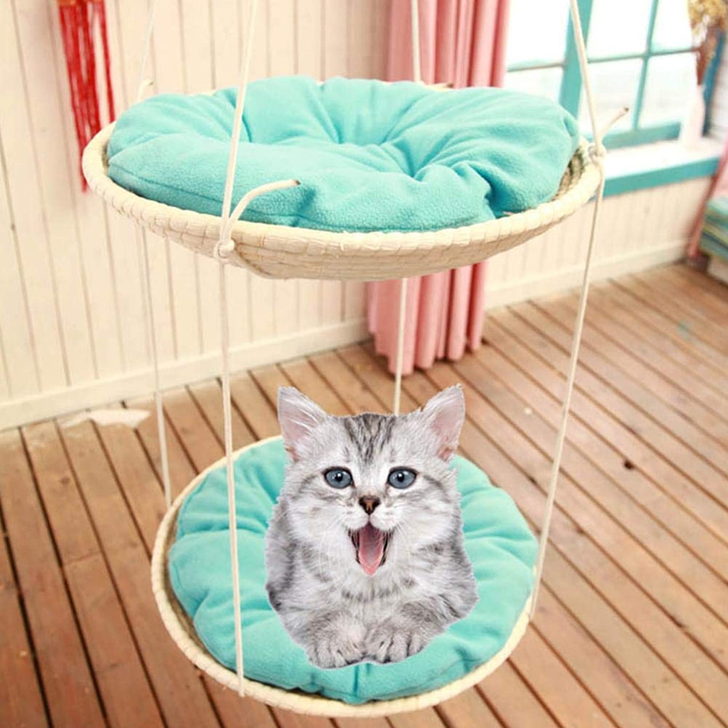 Cat Straw Climbing Bed Hammock Bed with Cushion Soft Hanging Pet Bed for Kitty Perch  Natural Bowl Shaped Corrugated Cradle Removable Cat Tree for Indoor Window Patio Outdoor Garden