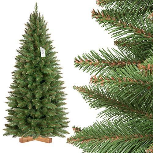 FairyTrees Artificiale Albero di Natale Slim, Abete Rosso Naturale, Tronco Verde, Materiale PVC, incl. Supporto in Legno, FT12