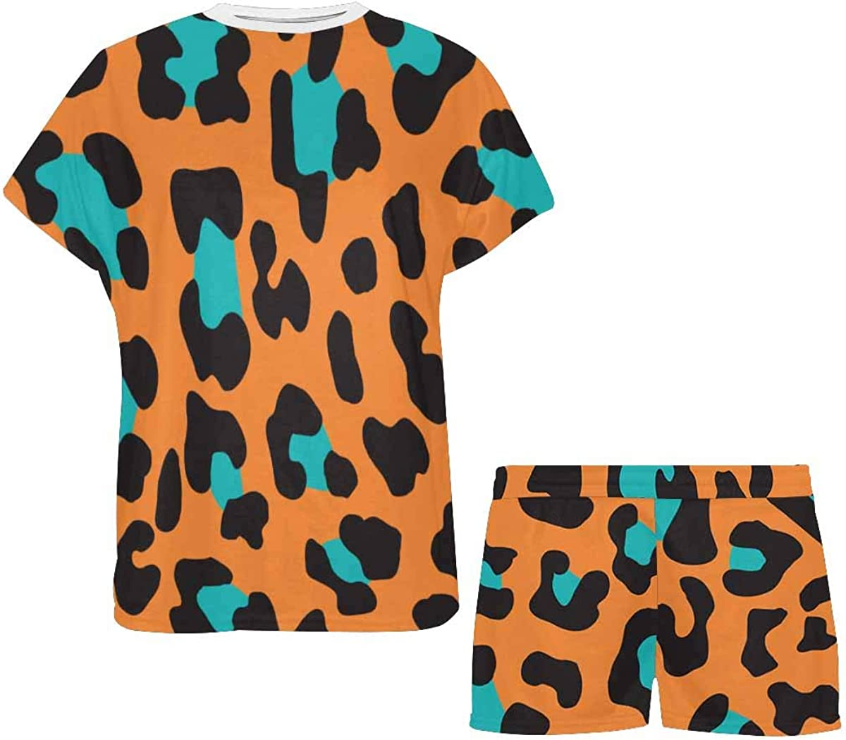 InterestPrint Wild Animal Leopard Print Women's Pajama Sets Short Sleeve Shorts - Pajamas for Women