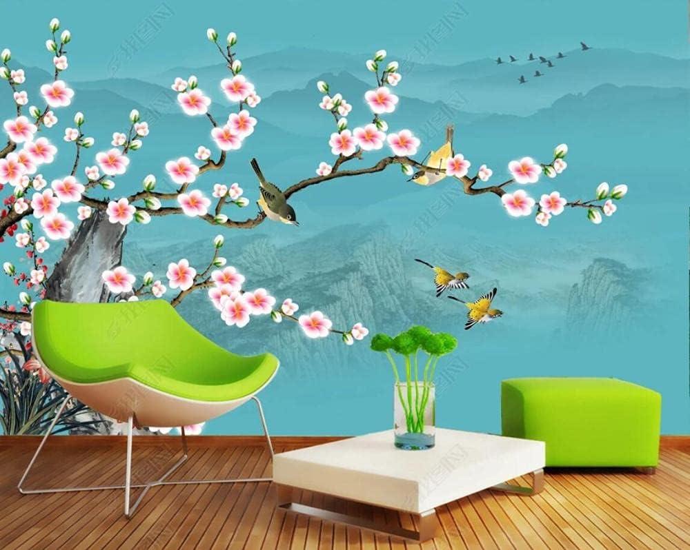 Wallpaper 3D 1 year warranty Effect Plum Flower Vintage Bird Wallpape Purchase Custom and
