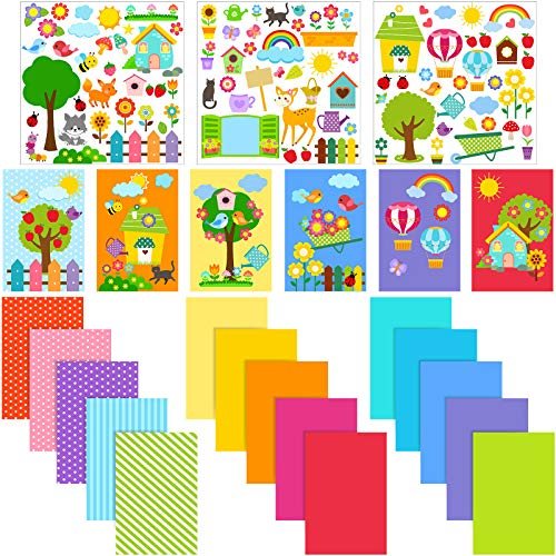 15 Pieces DIY Greeting Cards for Boys and Girls with 3 Sheets Stickers, 15 Pieces Blank Envelopes and 15 Pieces Seal Stickers, Handmade Card Making Crafting Kit for DIY Cards Making