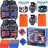 Giftinthebox 2 Pack Adjustable Kids Tactical Jacket Vest Kit with 80 Bullets Refill Darts 2 Toy G-renade, 2 Reload Clip, 2 Face Mask, 2 Protective Glasses and More for Boys and Girls