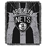 NORTHWEST NBA Brooklyn Nets Woven Jacquard Throw Blanket, 48' x 60', Double Play