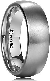 King Will Basic 3MM/5MM/7MM/9MM Silver/Black Titanium Ring Brushed/Matte Comfort Fit Wedding Band for Men