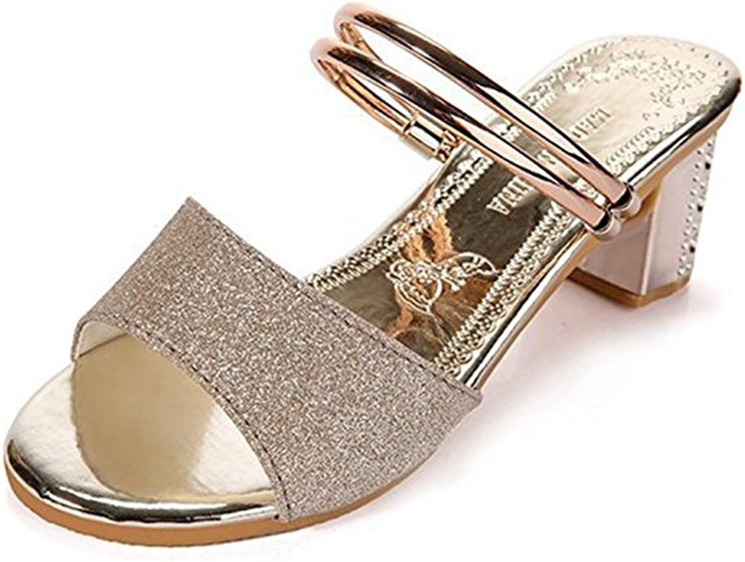 T-JULY Ladies Sparkle Glitter Sequins Open Toe Ankle Strap Sandals for Womens Chunky Heels Dress Pumps shoes