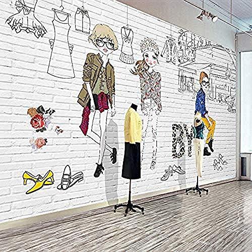 Fotobehang Cartoon Kleding Geschilderde Winkel Poster Mural Achtergrond Muurdecoratie Schilderij Non-W Non-Woven Zijde Aangepaste 3D Behang Plakken Woonkamer De Muur voor Slaapkamer Mural Border 300 cm.