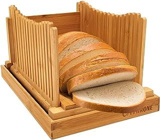 Bambou Bois Trancheuse à pain pour pain maison Planche à découper Toast, Machine à pain d'épaisseur réglable pour sandwich...