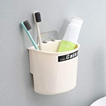 BUYERZONE Plastic No Trace Toothbrush, Toothpaste, Teeth Cleaning Stuffs Storage Holder with Drill-Free, Nail-Free Wall Stick Adhesive Pad (Medium, Multicolour)
