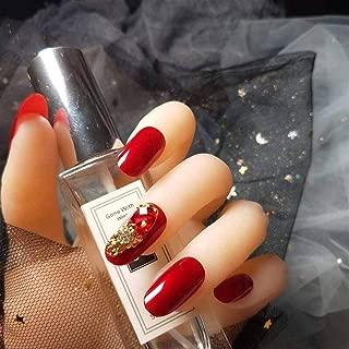 24pcs/Set Light Grey Rhinestone Short Size Design Artificial Nails DIY Fashionfake Nails with Glue Nails Press On (Color : Style9)