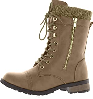 Womens Mango-31 Round Toe Military Lace Up Knit Ankle Cuff Low Heel Combat Boots