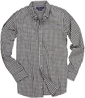 Men's Long Sleeve Button Down Stretch Fit Gingham Plaid Shirt
