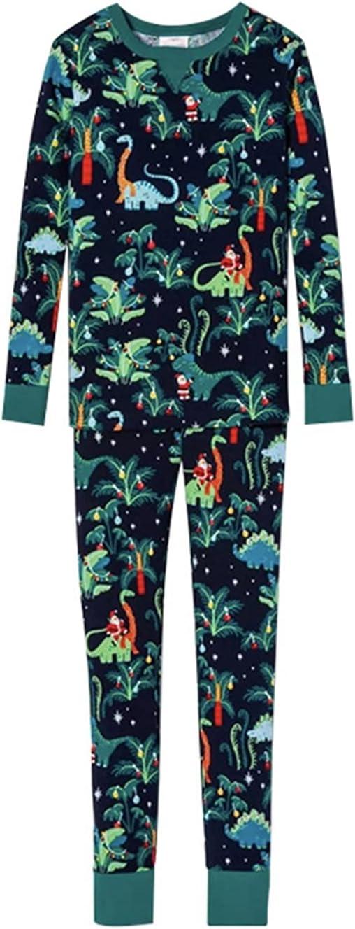 Dinosaur Printed Family Matching Outfits, Christmas Pajamas Set Sleepwear Pjs (Color : Green, Size : Men M)