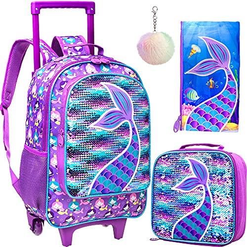 4PCS Rolling Backpack for Girls, Kids Mermaid Wheeled Bookbag