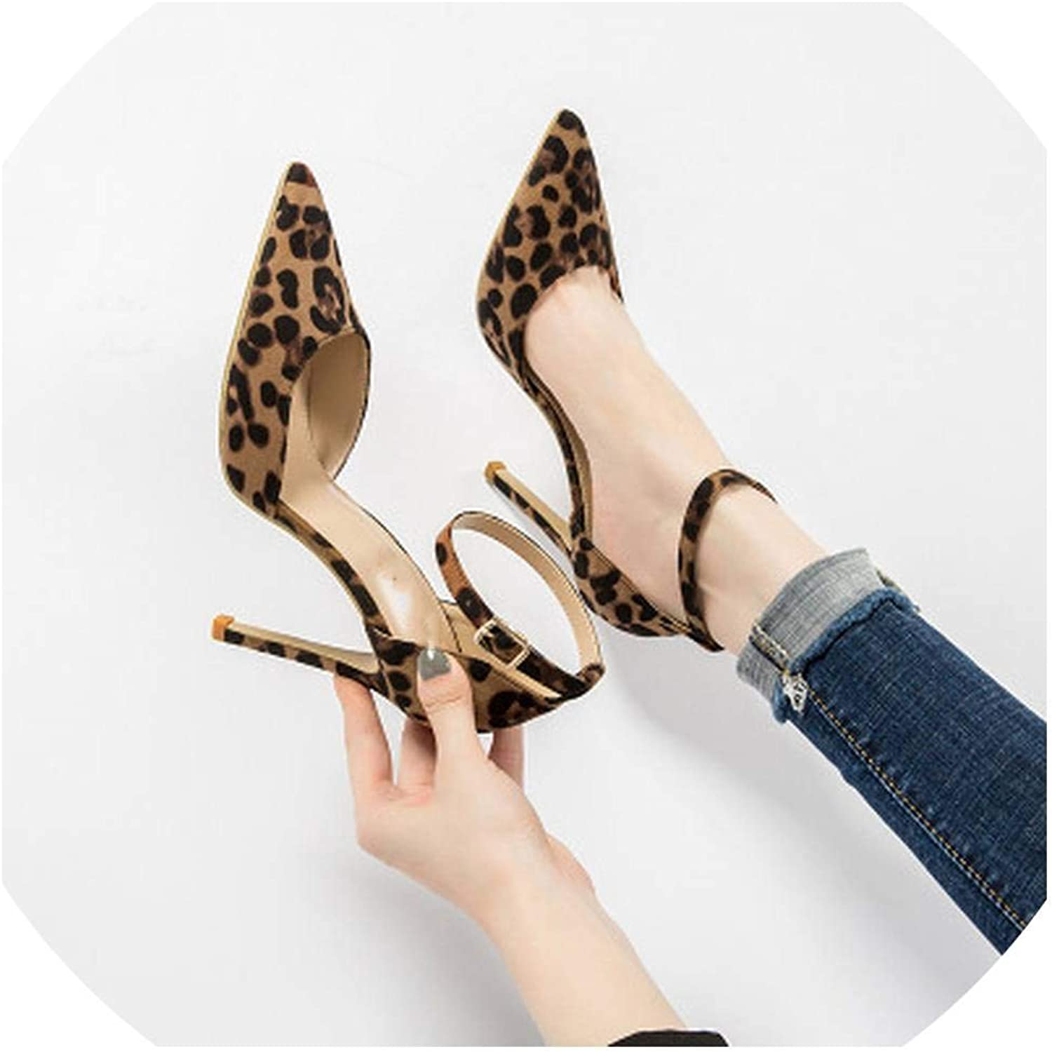 Fan-Shu Sexy Leopard Women shoes High Heels 6-10CM Elegant Office Pumps shoes Women Print Pointed Toe