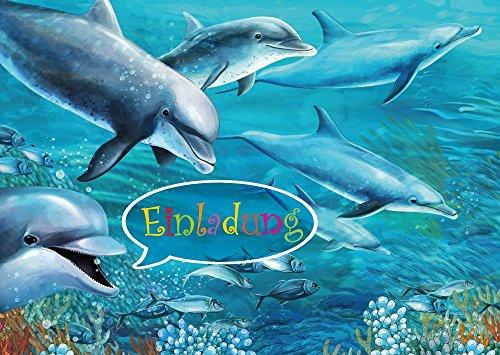 8-er-Set Delfin-Einladungskarten (10690) zum Kindergeburtstag oder zur Bade-Party/Aquarium- / Zoo-Besuch