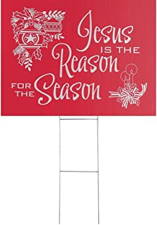 Dicksons Jesus is The Reason for The Season Cranberry 24 x 18 Coroplast Christmas Yard Sign