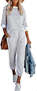wenyujh Damen 2PCS Trainingsanzug Loungewear Set Kurzarmshirt mit Langhosen Sportswear Jogginganzug Freizeitanzug Sportbek...