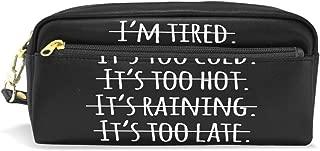 XLING Pencil Case Vintage Chic Funny Quote Leather Pen Pencil Case Box Pouch Zipper Makeup Cosmetic Bag Travel