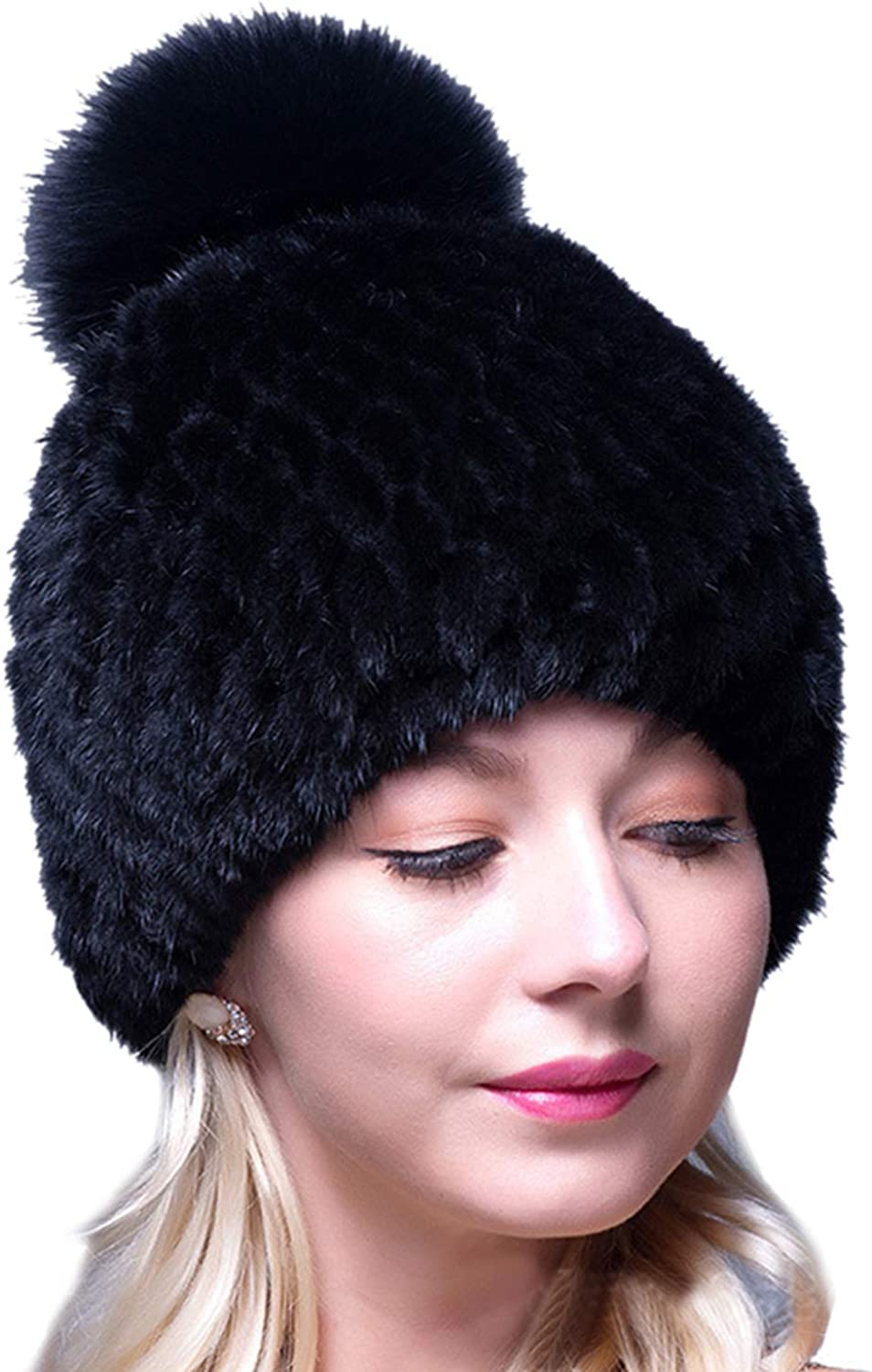 LITHER Thick Winter Fashionable Genuine Knit Mink Hat Fox with Outlet ☆ Free Shipping P Pom Fur