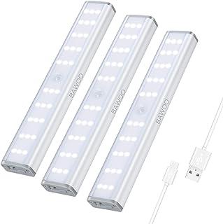 Luz Armario Sensor Movimiento Luces Gabinete 30 LED Luz Nocturna Recargable Bawoo 3 Luz de Noche 3 Brillo Luz de Armario Adhesivo Magnético Lámpara Cocina LED Wireless Lámpara Cocina Escalera Pasillo