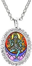 Goddess Kali Loving Mother Fierce Warrior Cz Crystal Silver Necklace Pendant
