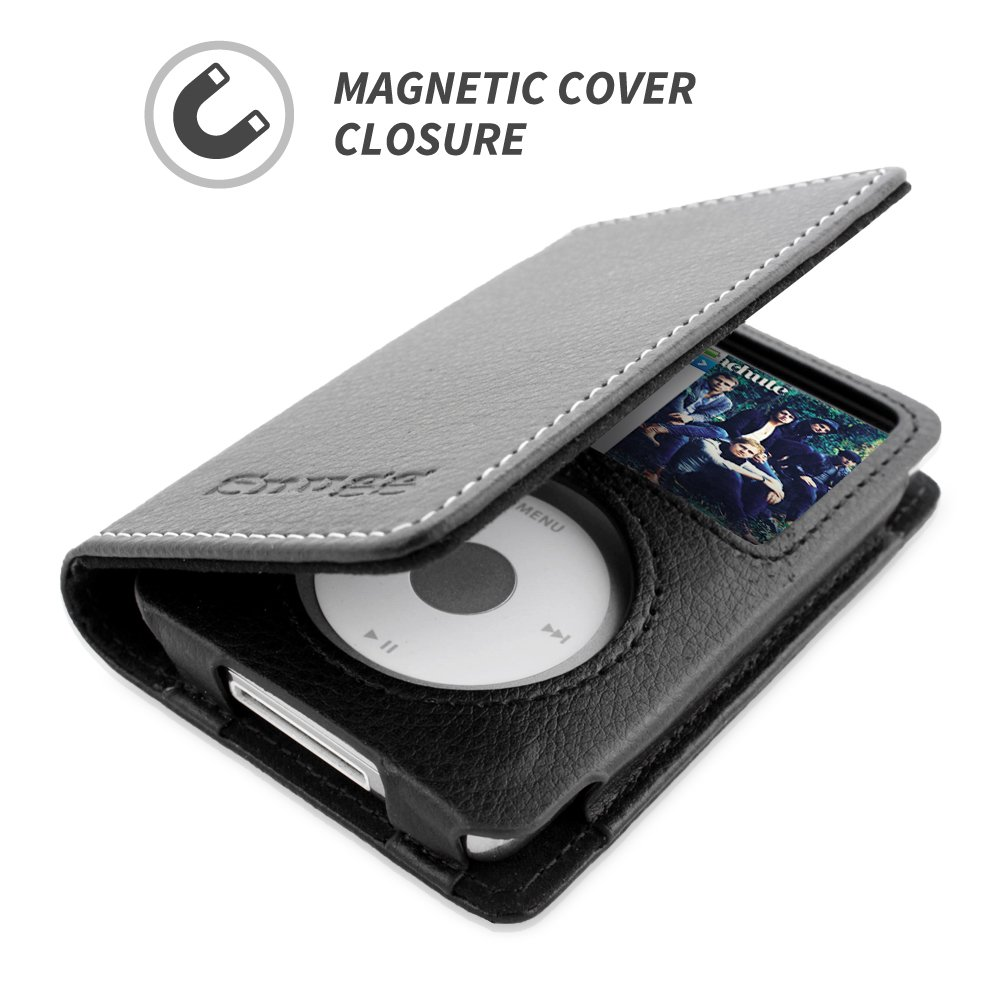 Black Leather Flip Case Executive Apple iPod Classic Wallet Case Cover and Stand Legacy Series Card Slots Snugg iPod Classic Case