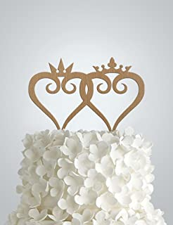 Wood Wedding cake Topper - Simple King and Queen Kingdom Hearts