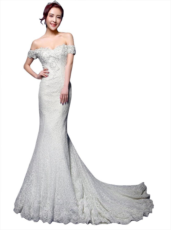 Drasawee Women's Mermaid Lace Floor Length Wedding Bridal Dresses White
