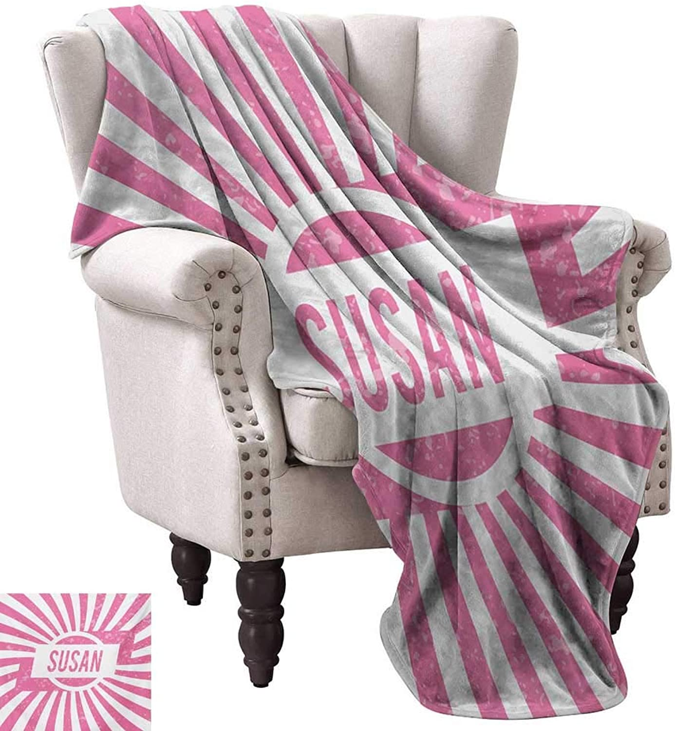 Anyangeight Digital Printing Blanket,Female Name with Grunge Effect Birthday Girl Celebration Striped Backdrop 70 x60 ,Super Soft and Comfortable,Suitable for Sofas,Chairs,beds