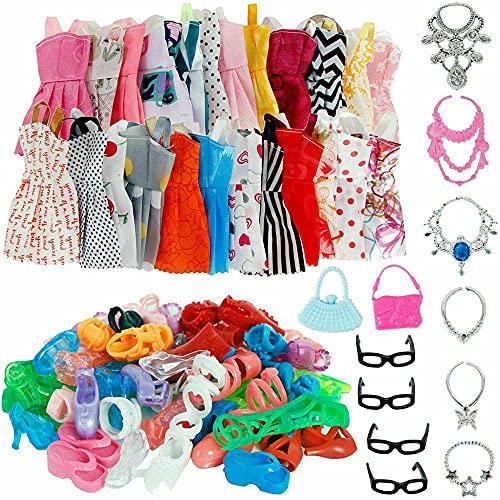 32 piezas de moda hecha a mano muñeca vestido de fiesta ropa mezclada estilos aleatoriamente el regalo más popular del día de los niños regalo de cumpleaños regalo de Año Nuevo