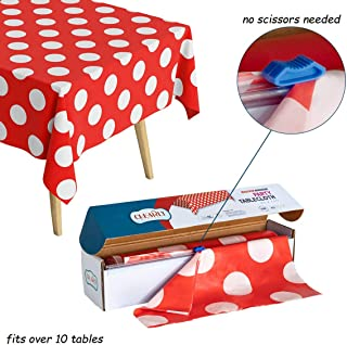 RED With WHITE Polka Dot Plastic Disposable Tablecloth Roll - Rectangle Table Covering Roll for Birthday Party, Baby Shower, Mickey Minnie Theme, Holiday Decor, Wedding [Fits10-12 Tables]