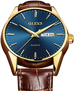 Amazon Top 1 Men's Leather Watch,Day Date Watch,Men Leather Band Classic Watch,Men's Watch,Waterproof Business Casual Men's Watch,Men Watches Clearance,Male Watch on Sale,Fashion Watch for Men