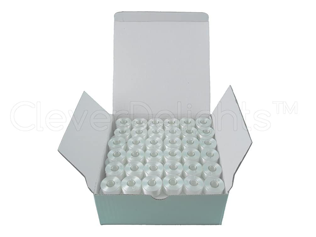 CleverDelights 144 White Prewound Bobbins - 60wt - Size A Class 15 Bobbins - for Brother Embroidery Machines - 7/16