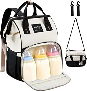 Diaper Bag Backpack - MOSFiATA 2 Stylish Multifuctional Waterproof Travel Backpack for Mom and Dad, Large Capacity Maternity Baby Diaper Changing Bag with Stroller Straps