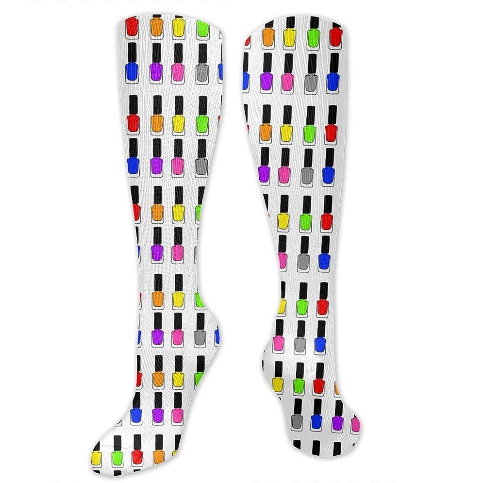 作者ワイドメキシコ靴下,ストッキング,野生のジョーカー,実際,秋の本質,冬必須,サマーウェア&RBXAA Rainbow Nail Polish Socks Women's Winter Cotton Long Tube Socks Knee High Graduated Compression Socks