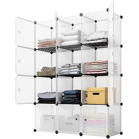 KOUSI Portable Storage Cubes-14 x14 Cube (12 Cubes)-More Stable (add Metal Panel) Cube Shelves with Doors, Modular Bookshelf Units,Clothes Storage Shelves,Room Organizer for Cubby Cube