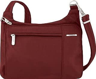 Anti-Theft Asymmetric East/West Bag - Small Nylon Crossbody for Travel & Everyday - (Wine/Gray Interior)