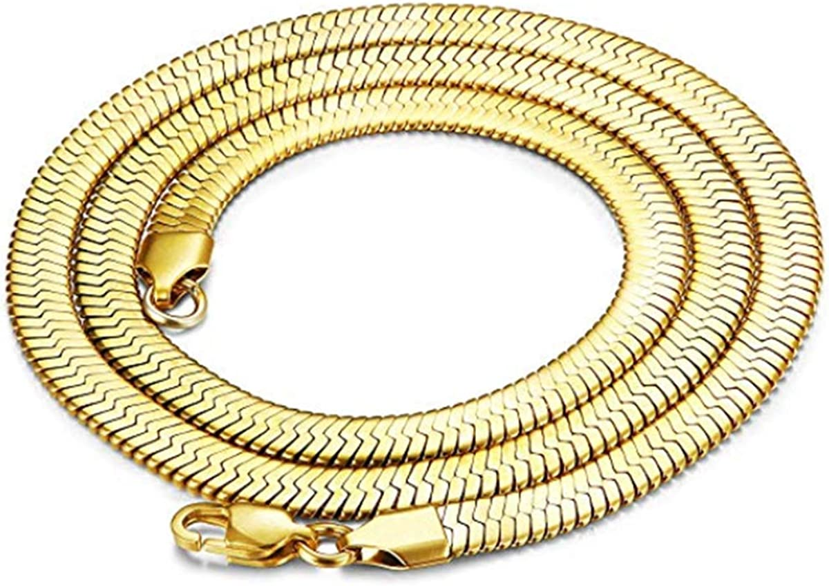 Cy trendy Mega Jewelery Yellow Gold Plated Herringbone Chain Necklace 11mm X 24