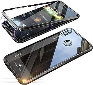 Jonwelsy Funda Huawei Honor 8X (6,5 Pulgada), Fuerte Tecnología de Adsorción Magnética Metal Bumper, Cubierta Trasera de Transparente Vidrio Templado Ultra Delgado Case Cover (Negro)