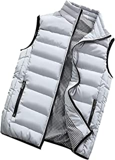 MALLOOM Mens Outdoor Winter Warm Casual Stand Collar Padded Cotton Vest Coats Sleeveless Puffer Down Outwear Clothes