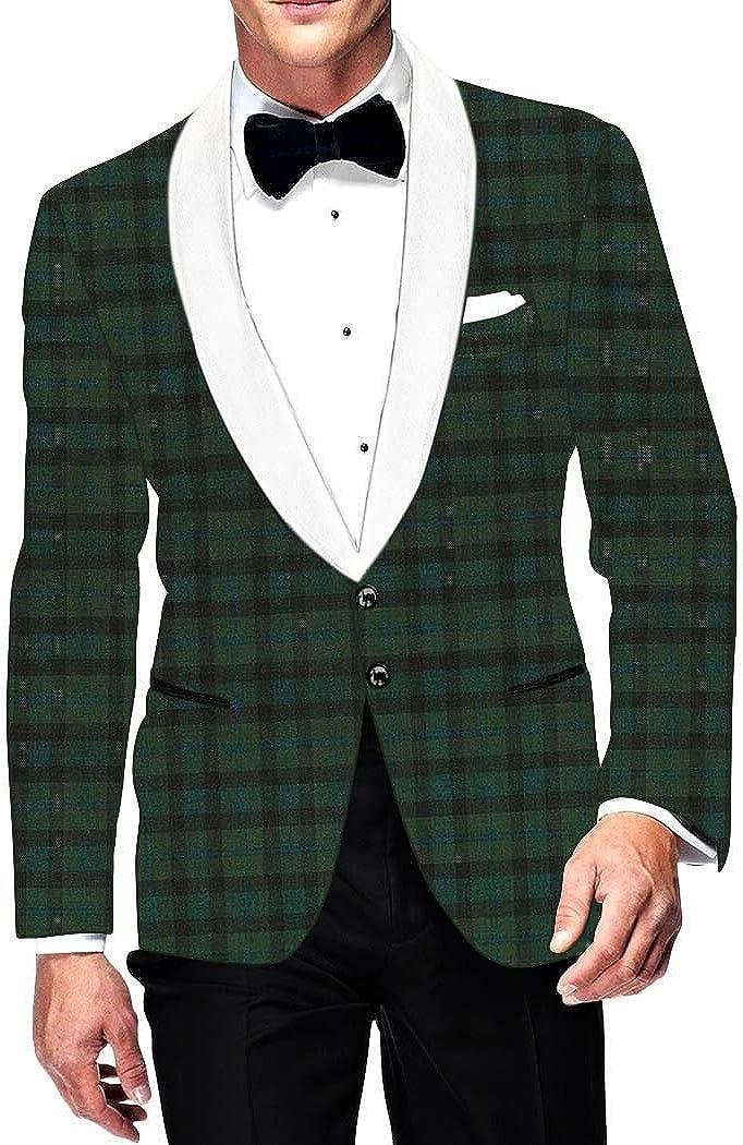 INMONARCH Weekly update Mens Slim fit Casual trust Blazer Jacket Green Checks Sport
