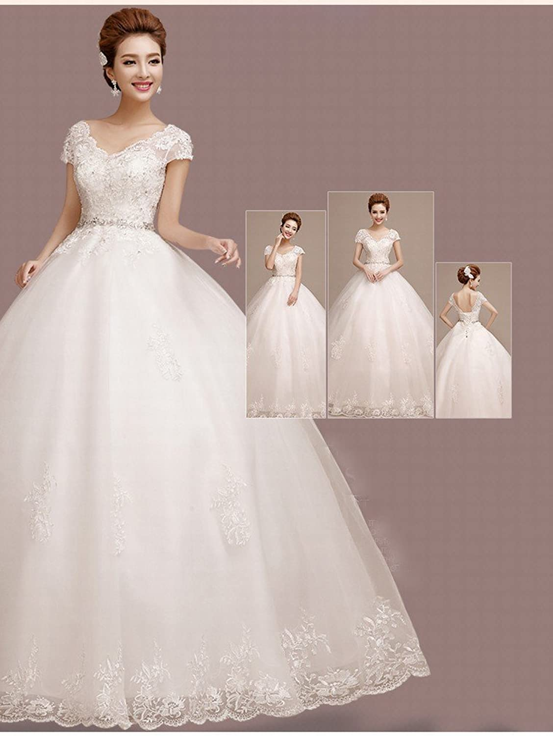 CXY Wedding Dress Korean Bride Big Size was Thin Waist Shoulder Wedding Dress Tail Autumn and Winter