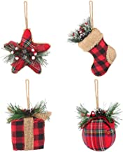 Christmas Red Black Plaid Hanging Ornaments - Christmas Ball & Stocking & Star & Xmas Box Decorations (4 Piece Set) - Xmas...