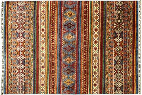 Afghan Khorjin Shaal Tapis noué à la main Motif rayures Rouge 170 x 230 cm