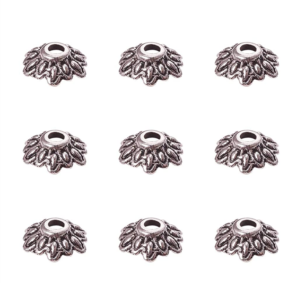 PH PandaHall 200PCS 8mm Antique Silver Tibetan Style Flower Bead Caps for Jewelry Making